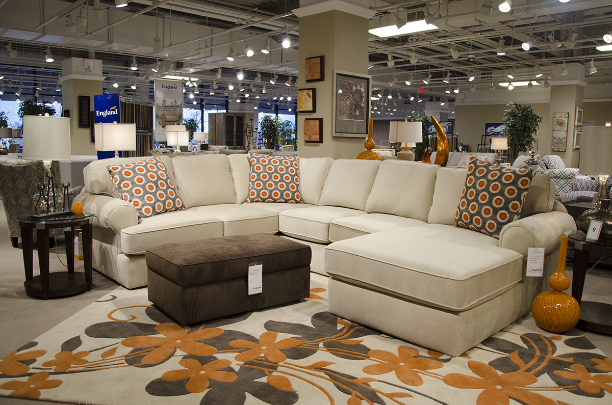 England Furniture 4N00 Sectional with 2400-81 storage ottoman