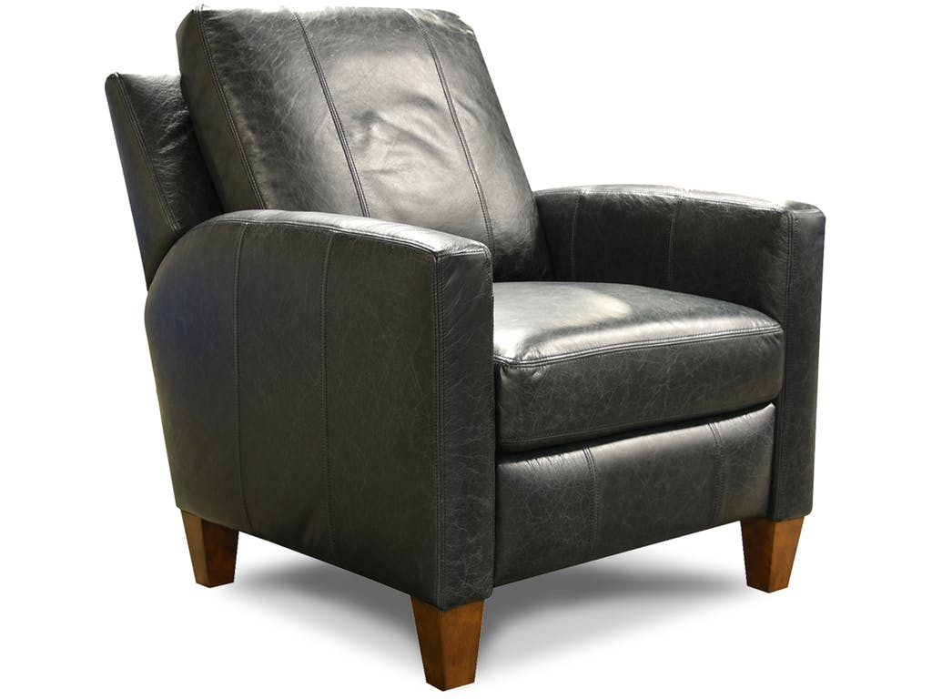 Modern Leather Recliner in Black