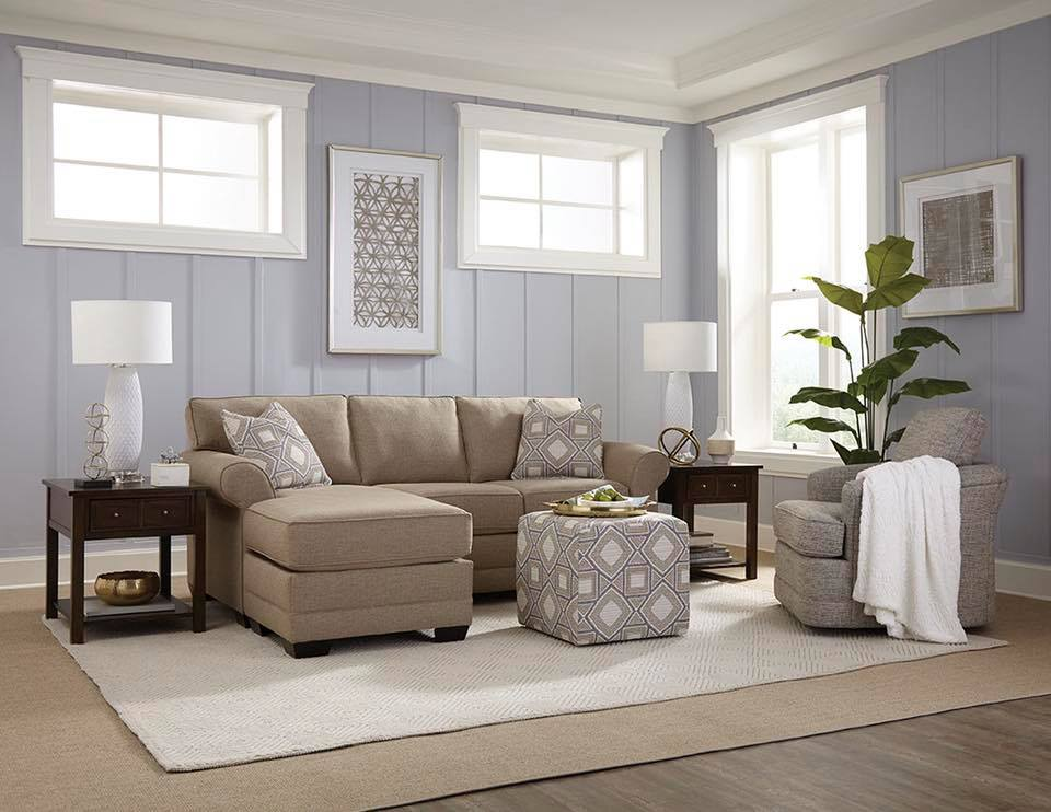 living room with England Furniture - cool colors on the walls and upholstry